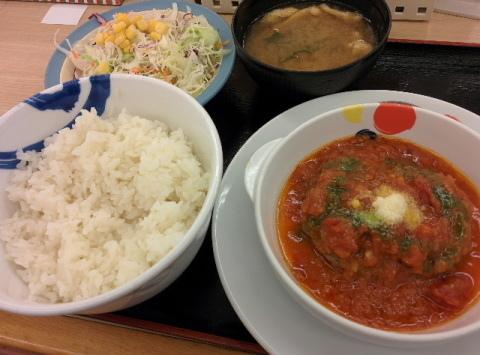 松屋 ハンバーグ 定食 大盛り無料 トマトバジル